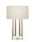 FlowDecor Deanna Table Lamp in metal with antique brass finish and beige cotton drum shade (# 4485)