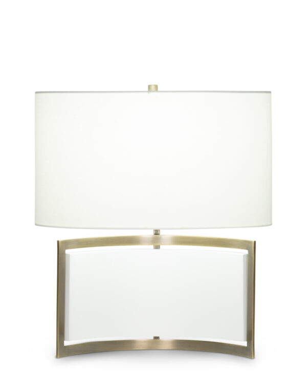 FlowDecor Desi Table Lamp in metal with antique brass & matte off-white finishes and off-white cotton oval shade (# 4436)