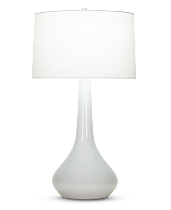 FlowDecor Dinah Table Lamp in ceramic with speckled transparent grey finish and off-white linen tapered drum shade (# 4083)