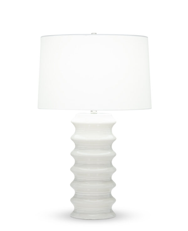 FlowDecor Downey Table Lamp in ceramic with off-white finish and off-white cotton tapered drum shade (# 4430)