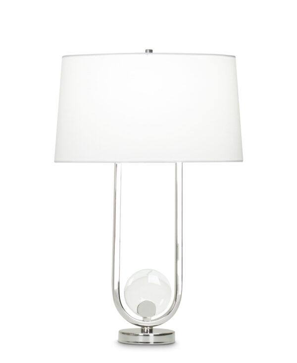 FlowDecor Doyle Table Lamp in metal with polished nickel finish and crystal and white linen oval shade (# 4041)