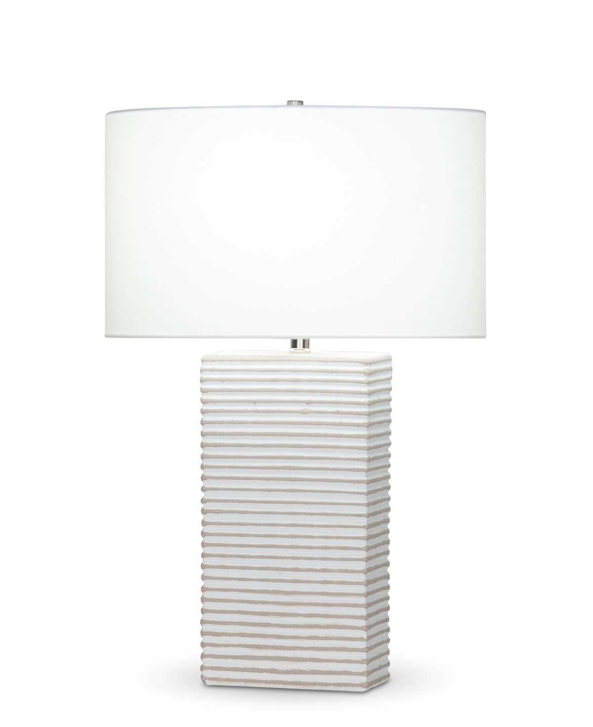 FlowDecor Eastwood Table Lamp in ceramic with white & taupe matte finish and off-white cotton oval shade (# 4432)