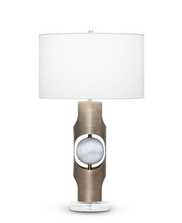 FlowDecor Eleanor Table Lamp in metal with antique brass finish and white marble and crystal base and off-white linen drum shade (# 3943)