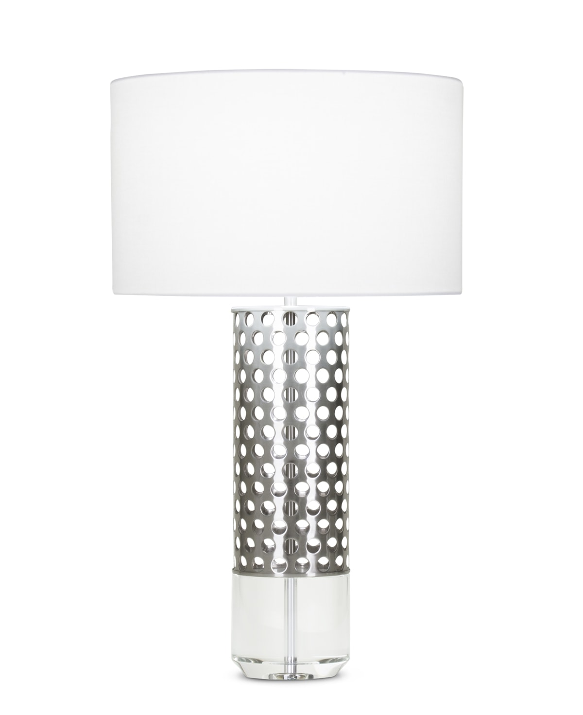 FlowDecor Elijah Table Lamp in metal with brushed nickel finish and crystal and white linen drum shade (# 4001)