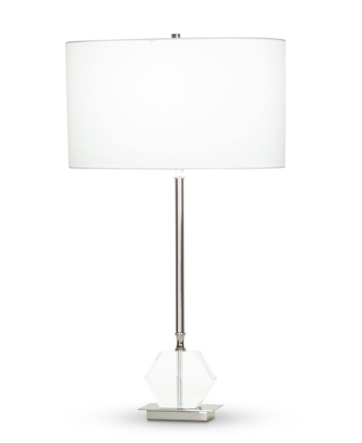 FlowDecor Ellen Table Lamp in crystal and metal with polished nickel finish and off-white cotton oval shade (# 4363)