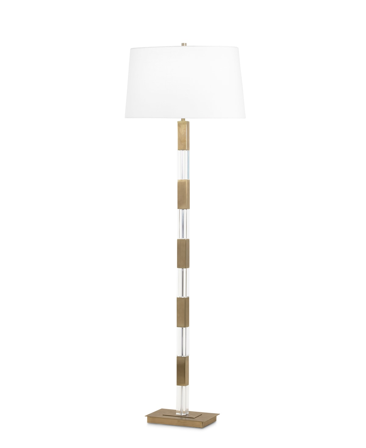 FlowDecor Elm Floor Lamp in crystal and metal with antique brass finish and off-white linen oval shade (# 3638)
