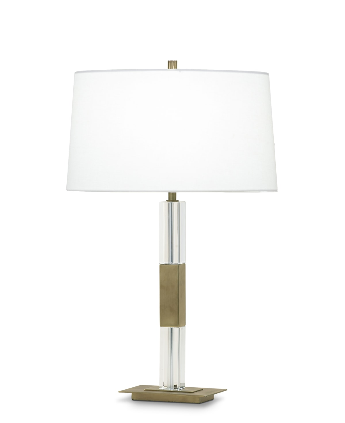 FlowDecor Elm Table Lamp in crystal and metal with antique brass finish and off-white linen oval shade (# 3637)