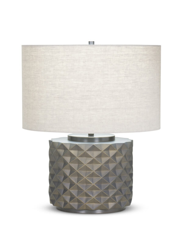 FlowDecor Emerald Table Lamp in resin with bronze finish and beige linen drum shade (# 4094)