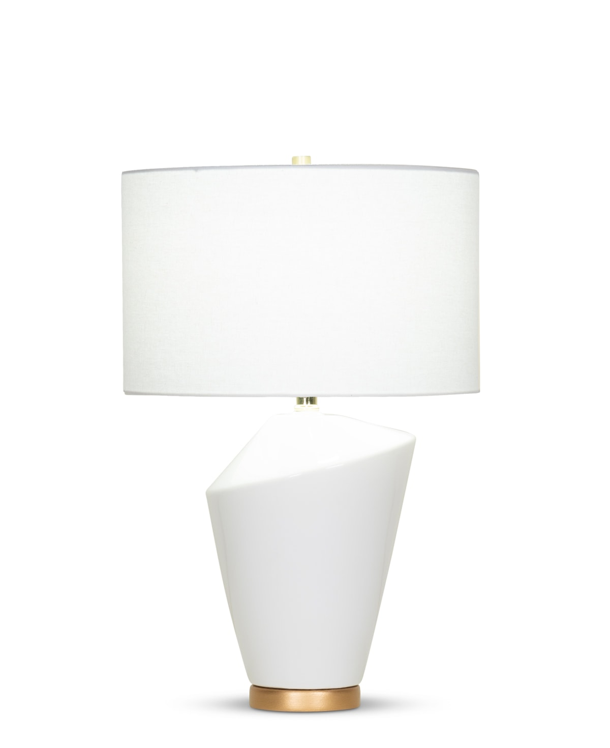 FlowDecor Emery Table Lamp in ceramic with off-white finish and resin base with gold finish and off-white linen drum shade (# 4372)