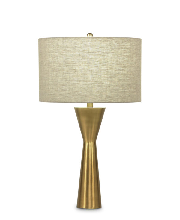 FlowDecor Essex Table Lamp in metal with antique brass finish and beige linen drum shade (# 3591)