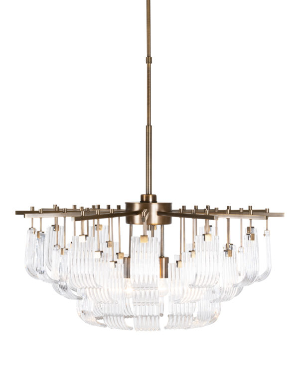 FlowDecor Ferris Chandelier in metal with antique brass finish and glass (# 6051)