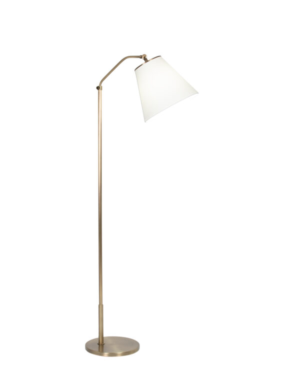 FlowDecor Fin Floor Lamp in metal with antique brass finish and off-white cotton tapered drum shade (# 4446)