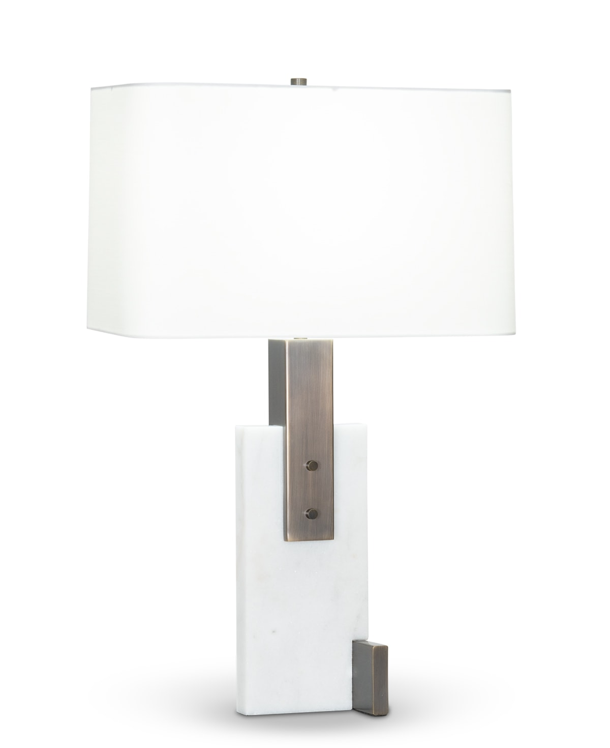 FlowDecor Fran Table Lamp in white marble and metal with bronze finish and off-white cotton rounded rectangle shade (# 4438)
