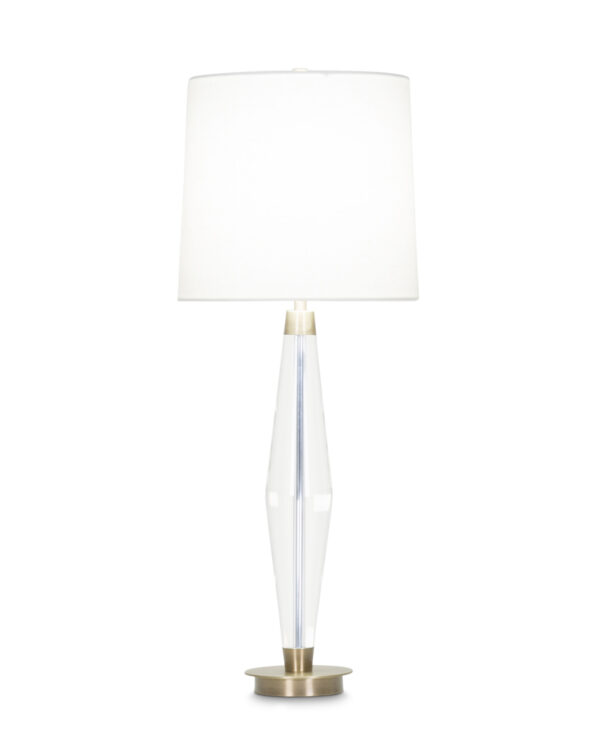 FlowDecor Francis Table Lamp in crystal and metal with antique brass finish and off-white linen tapered drum shade (# 3977)