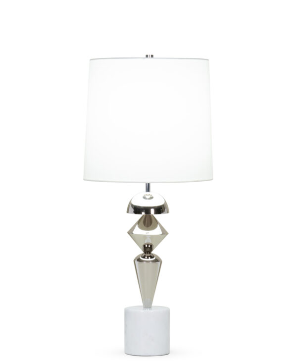 FlowDecor Fraser Table Lamp in white marble and metal with polished nickel finish and off-white cotton tapered drum shade (# 4406)