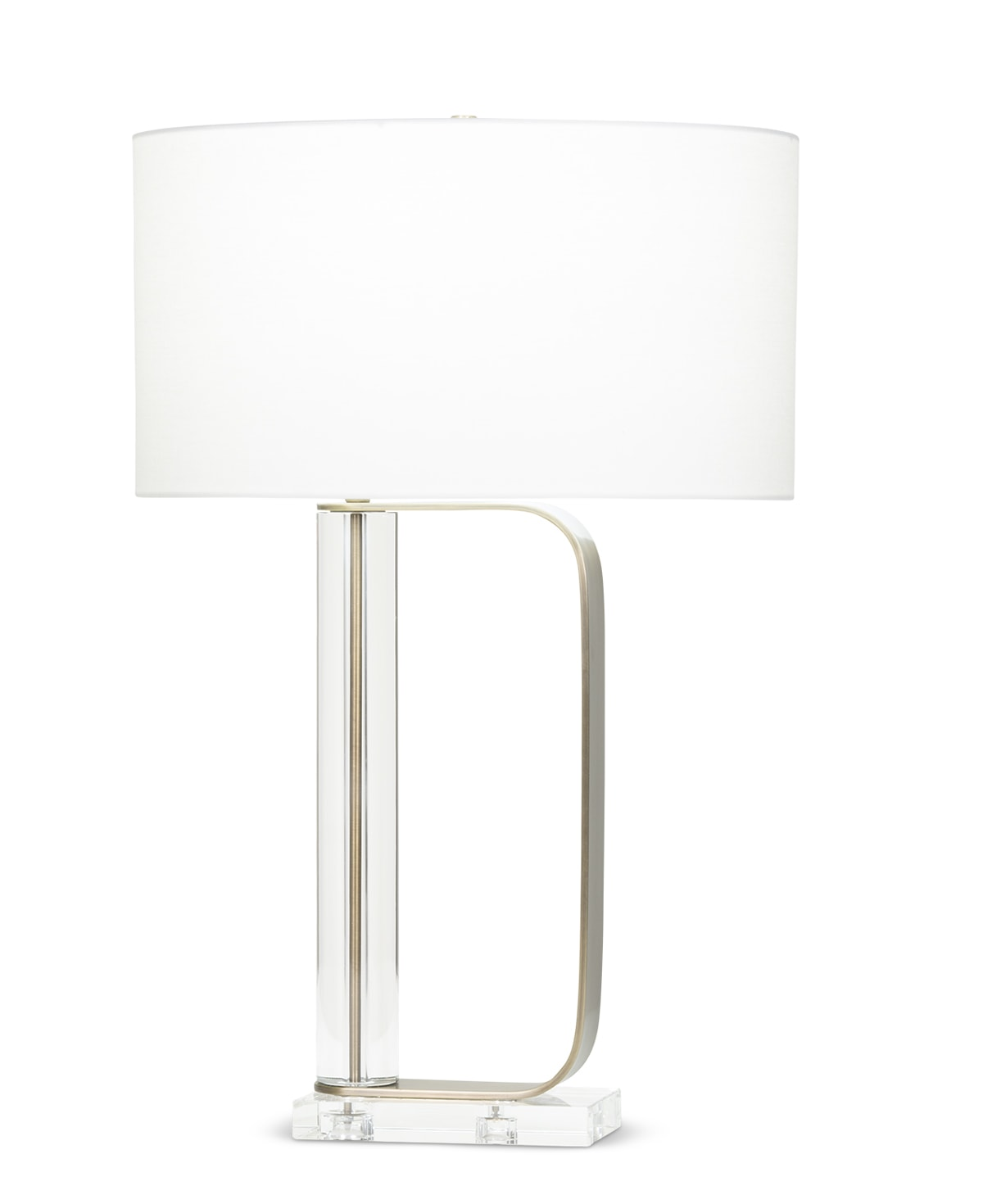 FlowDecor Gabby Table Lamp in crystal and metal with antique brass finish and off-white linen oval shade (# 4096)