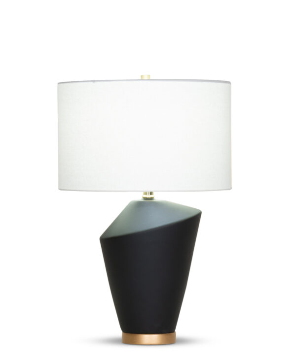 FlowDecor Gavin Table Lamp in ceramic with black matte finish and resin base with gold finish and off-white linen drum shade (# 4371)
