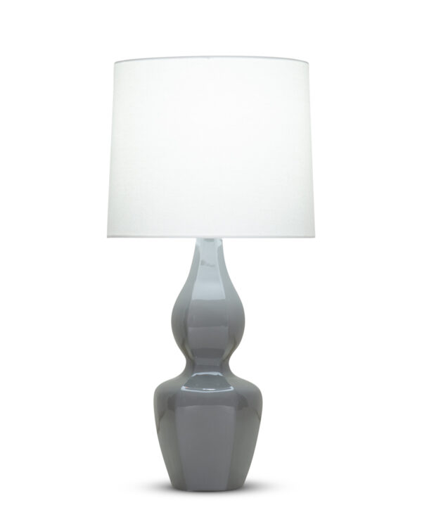 FlowDecor George Table Lamp in ceramic with charcoal grey finish and off-white linen tapered drum shade (# 4353)