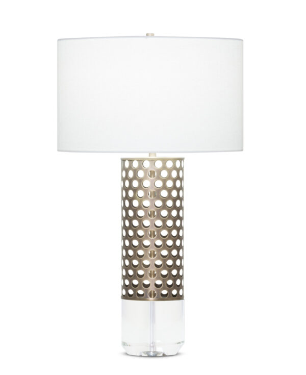 FlowDecor Grace Table Lamp in metal with antique brass finish and crystal and off-white linen drum shade (# 3925)
