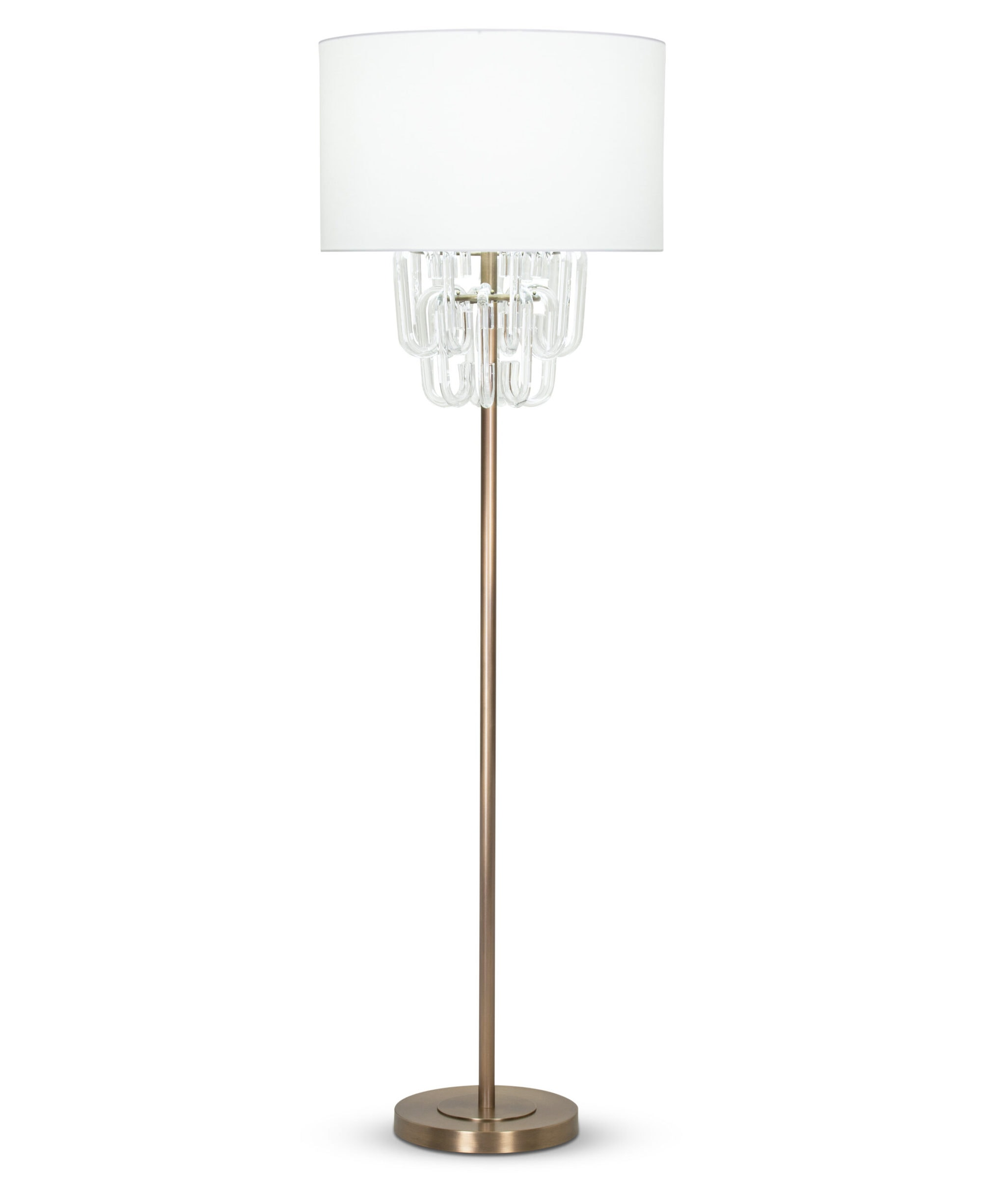 FlowDecor Grenada Floor Lamp in metal with antique brass finish and glass and off-white cotton drum shade (# 4411)
