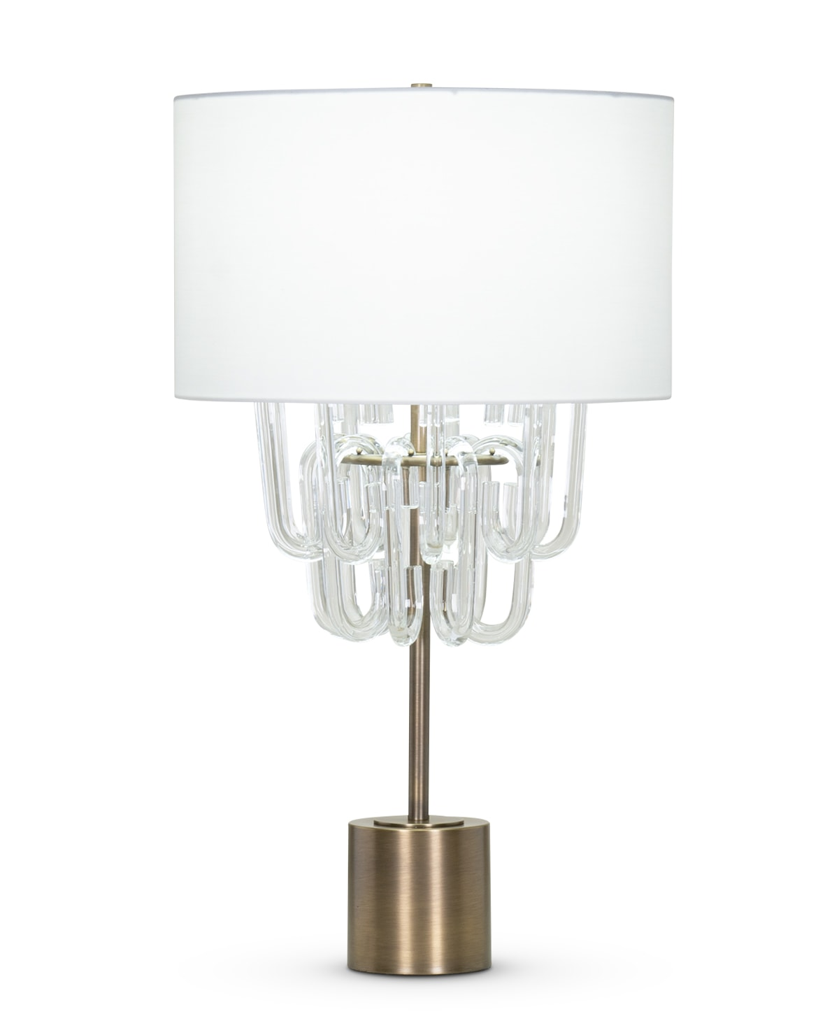 FlowDecor Grenada Table Lamp in metal with antique brass finish and glass and off-white cotton drum shade (# 4412)