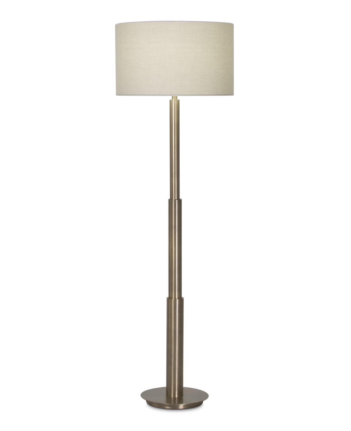 FlowDecor Hailey Floor Lamp in metal with antique brass finish and beige cotton drum shade (# 3980)