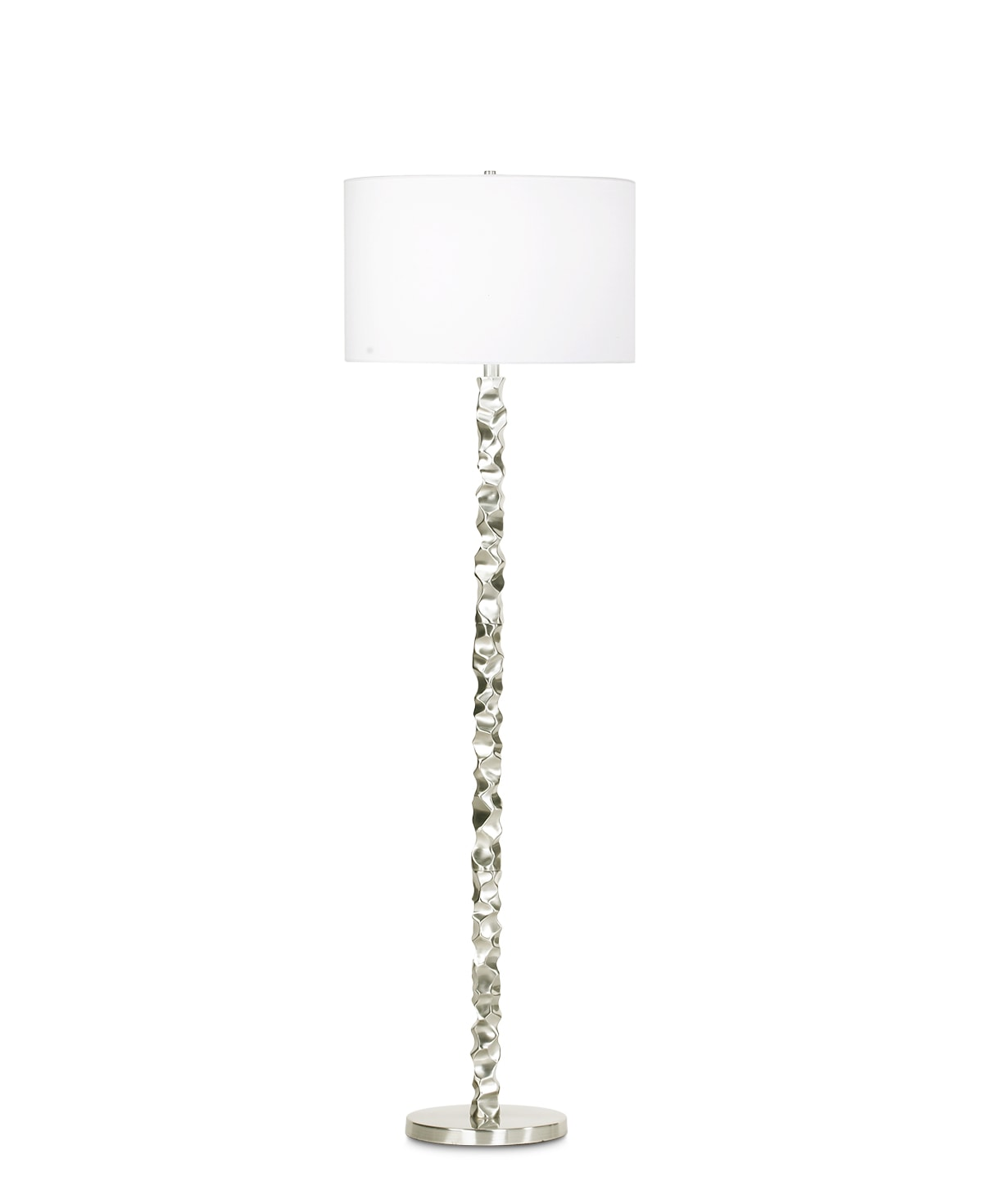 FlowDecor Heather Floor Lamp in brass with brushed nickel finish and white linen drum shade (# 3705)