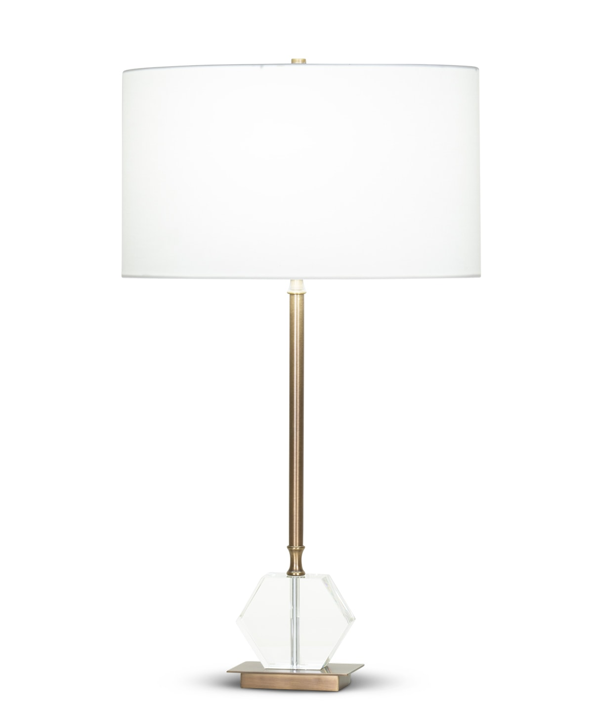 FlowDecor Henrietta Table Lamp in crystal and metal with antique brass finish and off-white cotton oval shade (# 4364)