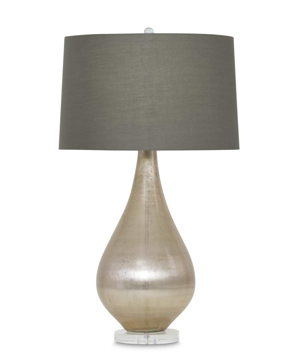 FlowDecor Holland Table Lamp in mouth-blown glass with beige metallic finish and acrylic base and taupe cotton tapered drum shade (# 3905)