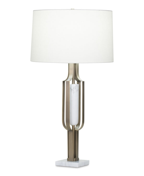 FlowDecor Homer Table Lamp in white marble and metal with antique brass finish and off-white linen tapered drum shade (# 4043)