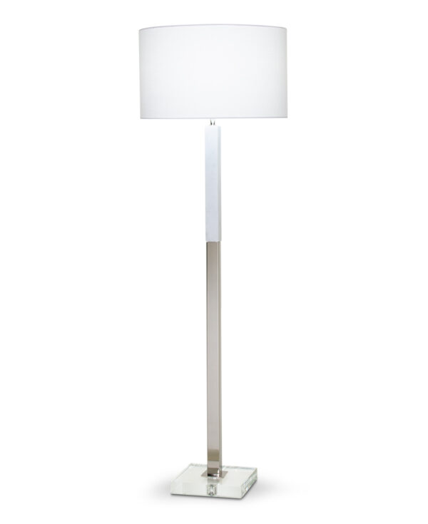 FlowDecor Howard Floor Lamp in white marble and metal with polished nickel finish and crystal and white linen drum shade (# 4355)