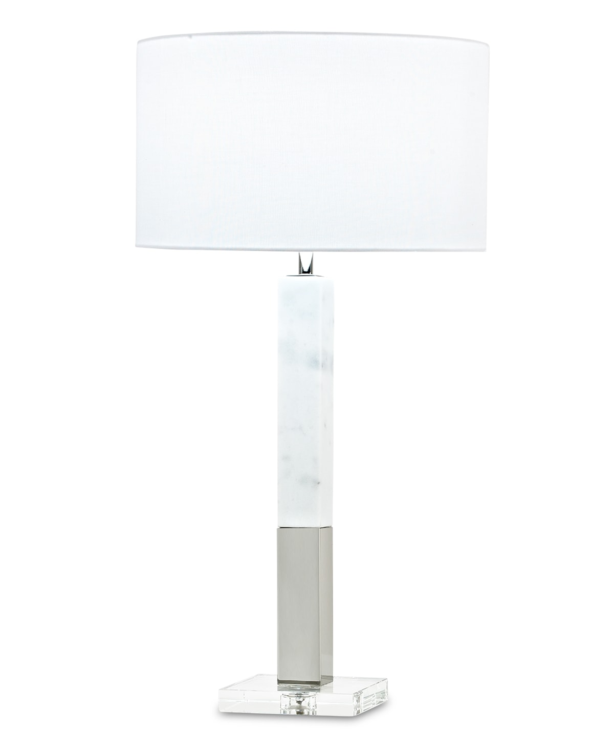 FlowDecor Howard Table Lamp in white marble and metal with polished nickel finish and crystal base and white linen drum shade (# 3823)