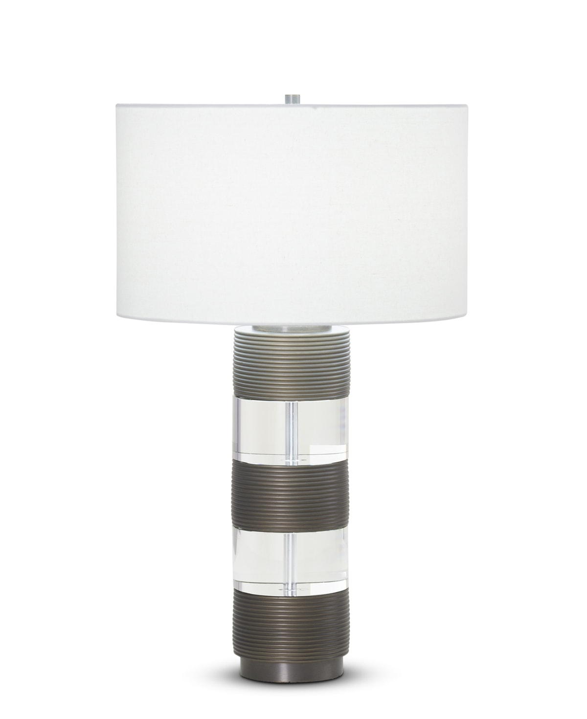 FlowDecor Hunter Table Lamp in resin with bronze finish and finely ribbed surface and crystal and off-white linen drum shade (# 3887)
