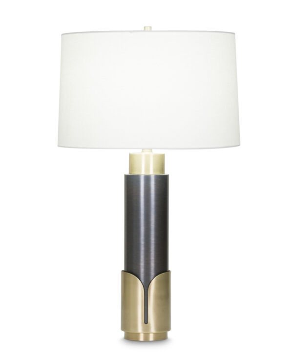 FlowDecor Huxley Table Lamp in metal with antique brass & bronze finishes and off-white linen tapered drum shade (# 4050)