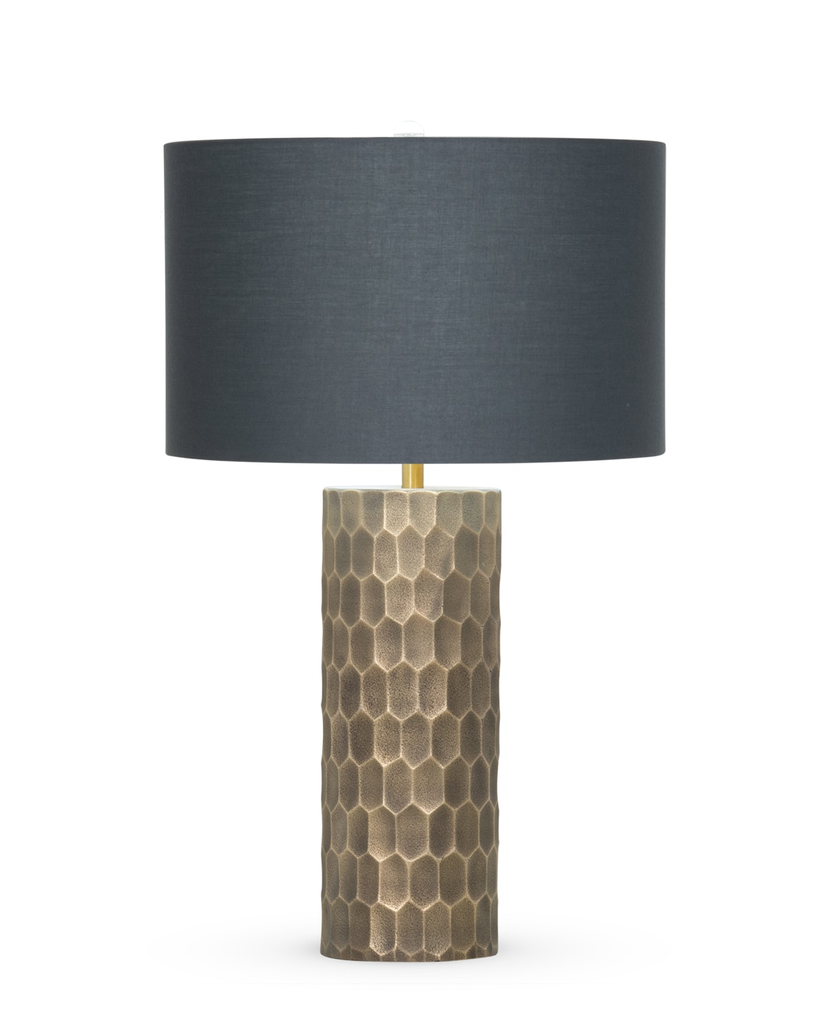 FlowDecor Ireland Table Lamp in mouth-blown glass with dark hand-etched brass plated finish and charcoal grey cotton drum shade (# 4402)