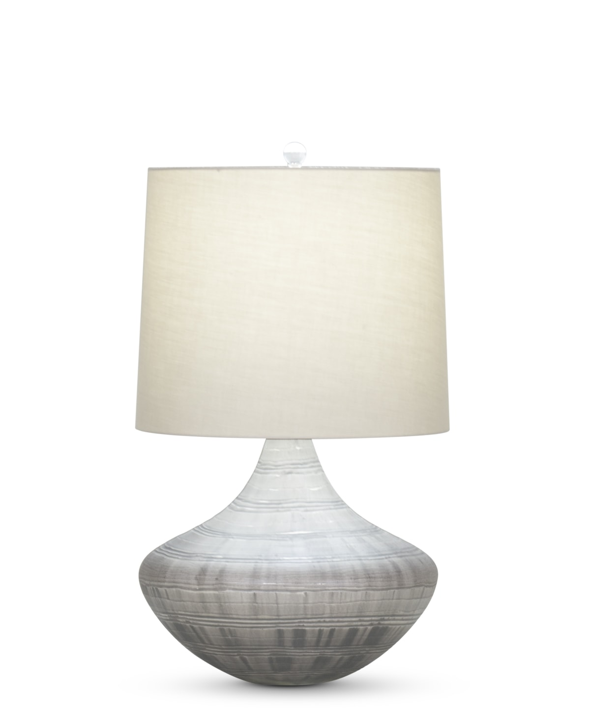 FlowDecor Jackson Table Lamp in mouth-blown glass with grey carved finish and beige cotton tapered drum shade (# 3954)