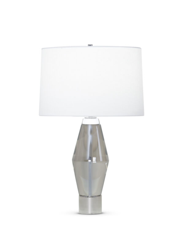 FlowDecor Jacob Table Lamp in crystal with smoked and metal with polished nickel finish and off-white cotton tapered drum shade (# 3910)