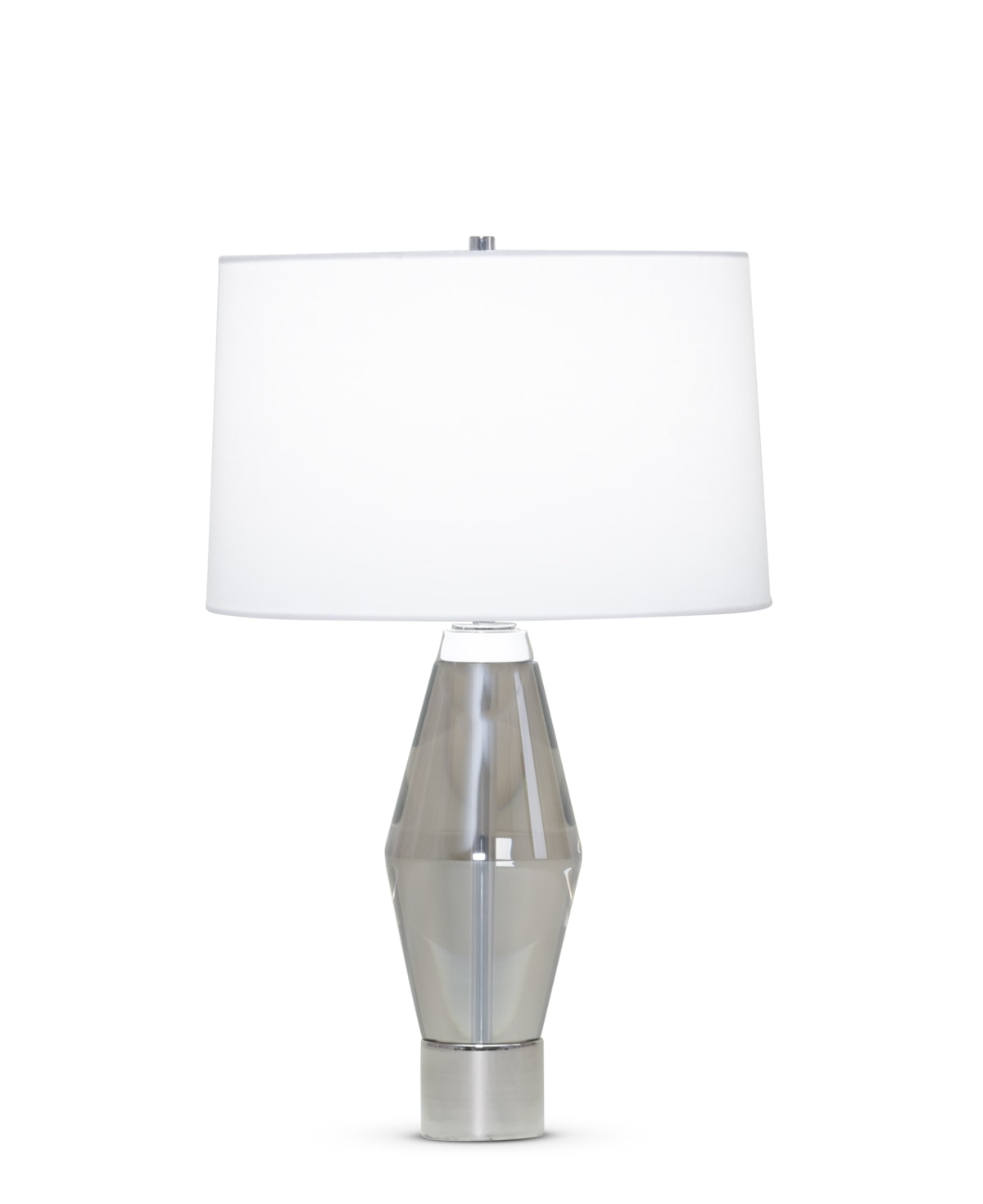 FlowDecor Jacob Table Lamp in crystal with smoked and metal with polished nickel finish and white linen tapered drum shade (# 3910)