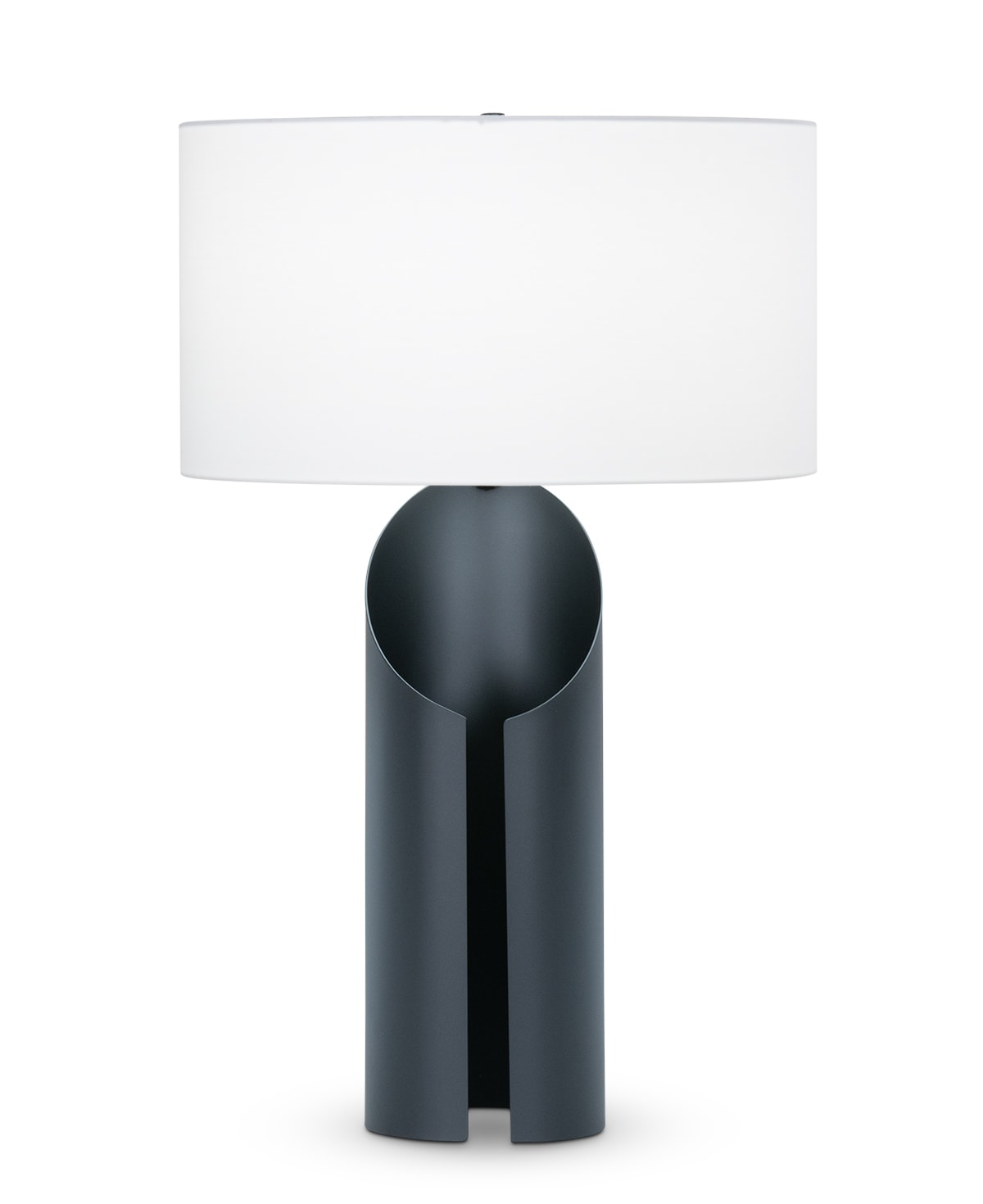 FlowDecor Jade Table Lamp in metal with black matte finish and off-white cotton oval shade (# 4483)