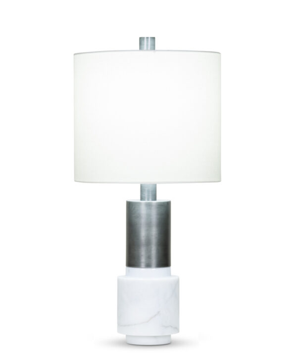 FlowDecor Java Table Lamp in white marble and metal with antique black finish and off-white linen drum shade (# 4077)