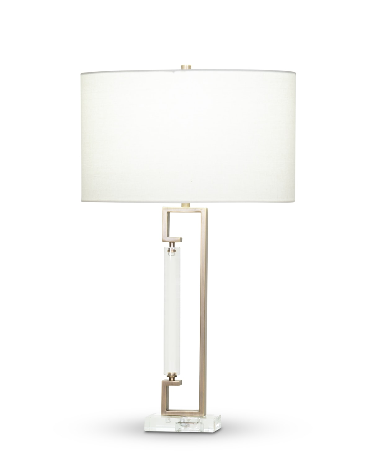 FlowDecor Juliette Table Lamp in crystal and metal with antique brass finish and off-white linen oval shade (# 4357)