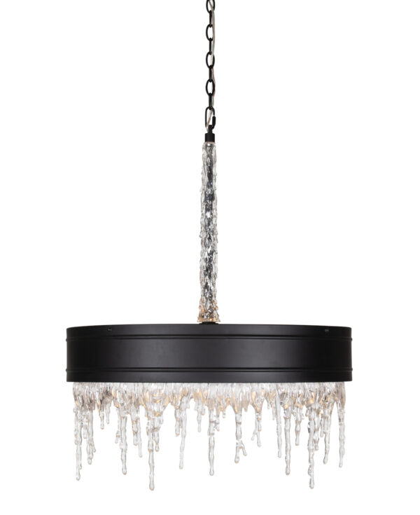 FlowDecor Juniper Chandelier in metal with black matte finish and acrylic (# 6053)