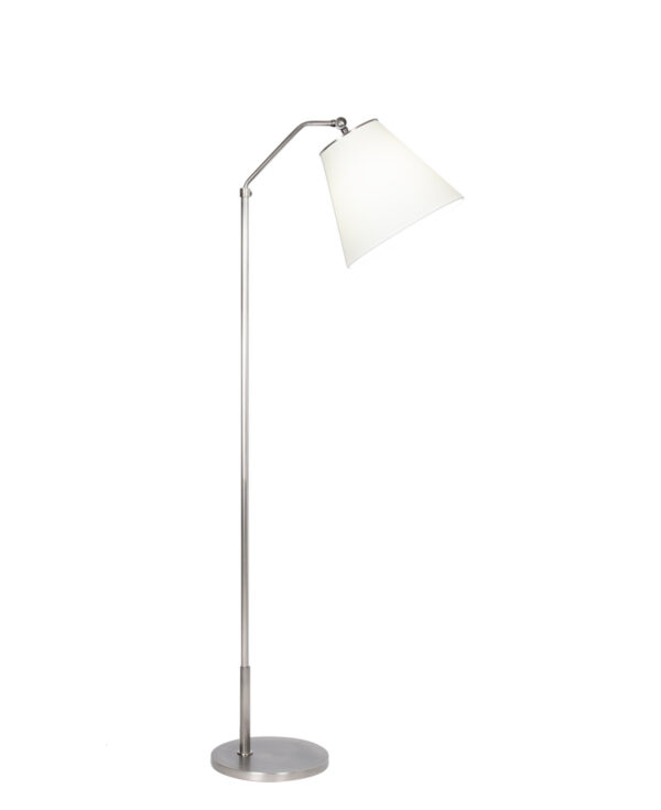 FlowDecor Kessel Floor Lamp in metal with antique silver finish and off-white cotton tapered drum shade (# 4452)