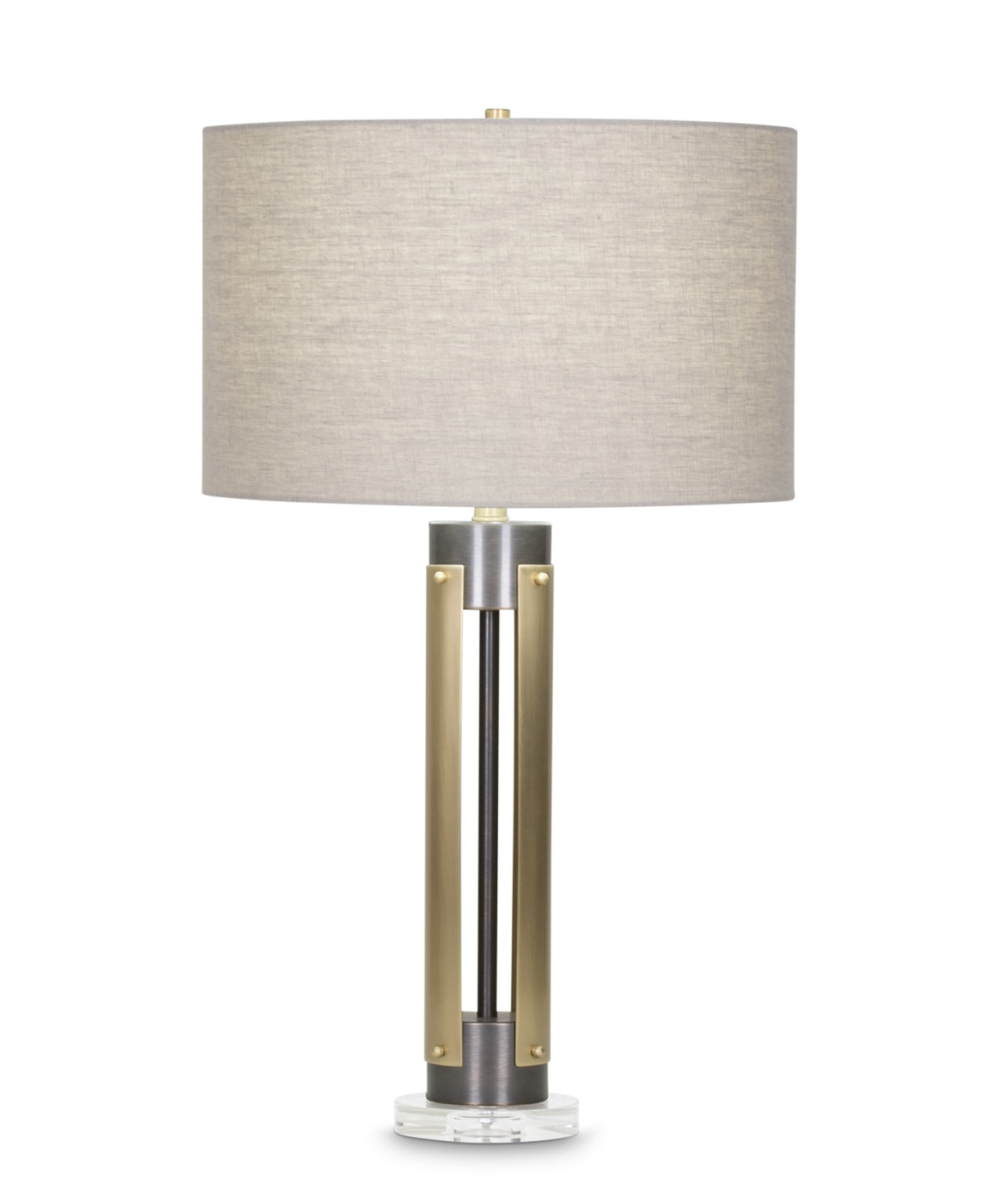 FlowDecor Kipling Table Lamp in metal with antique brass & bronze finishes and beige linen drum shade (# 4047)