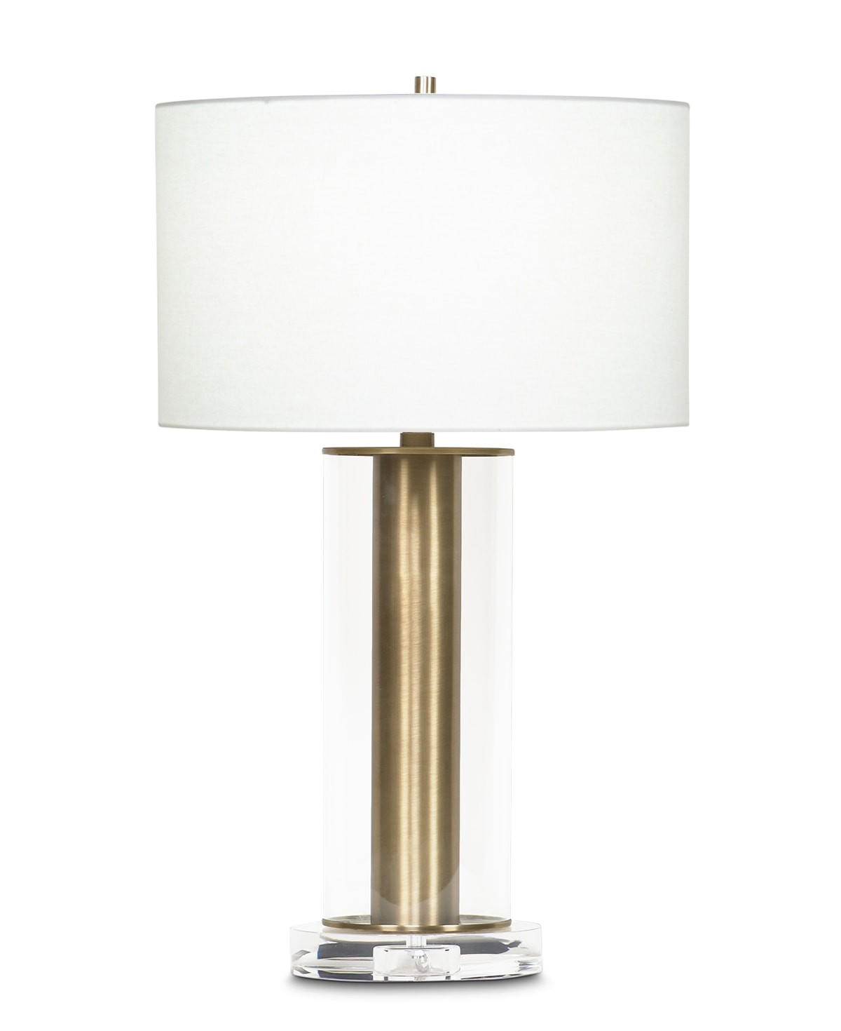 FlowDecor Latour Table Lamp in metal with antique brass finish and glass and crystal and off-white linen drum shade (# 3676)