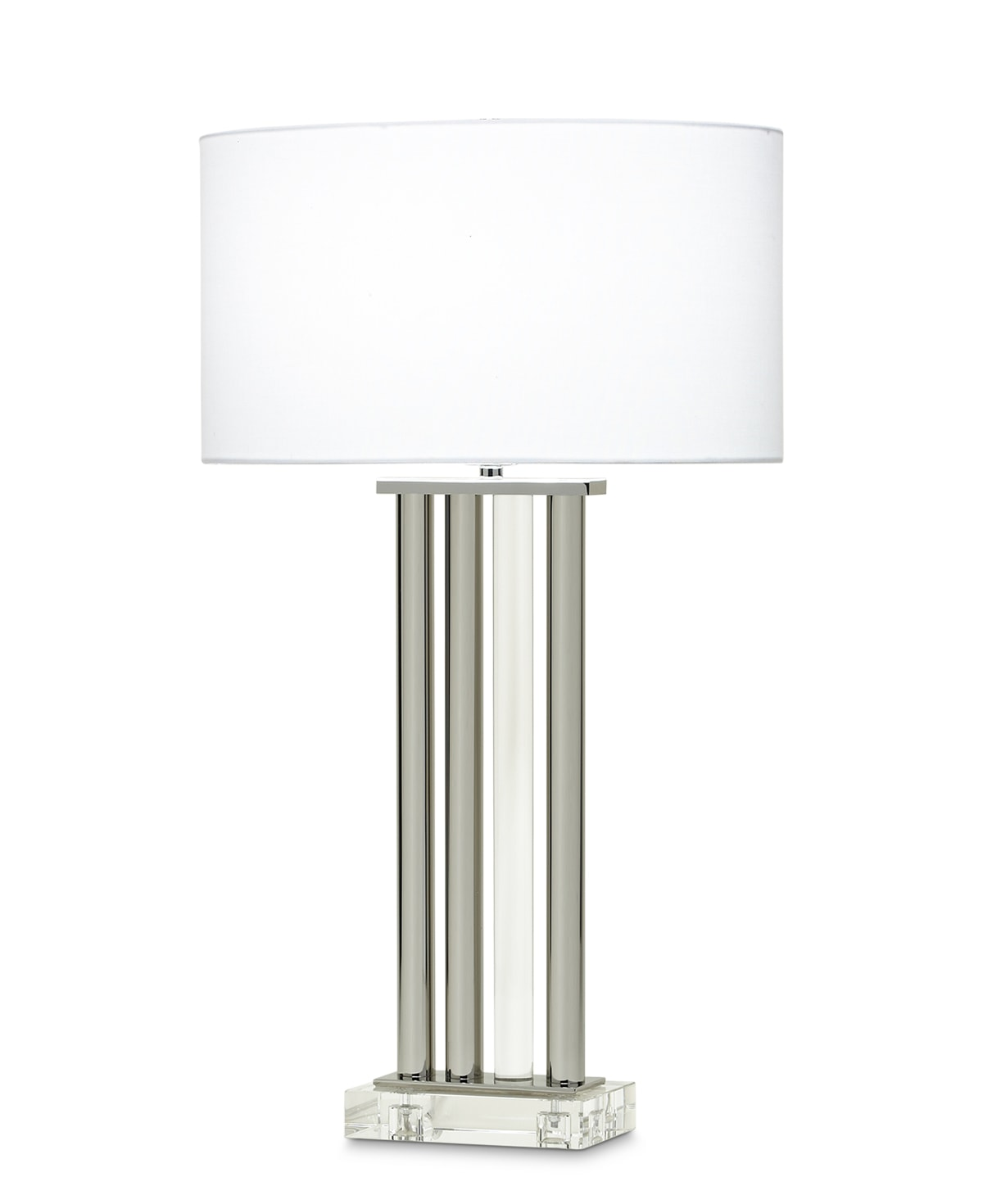 FlowDecor Lewis Table Lamp in metal with polished nickel finish and crystal and white linen oval shade (# 3766)