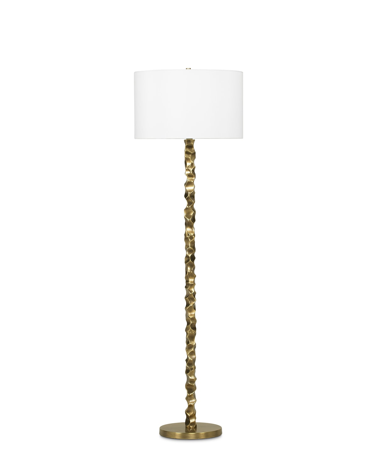 FlowDecor Liam Floor Lamp in brass with antique brass finish and off-white linen drum shade (# 3513)
