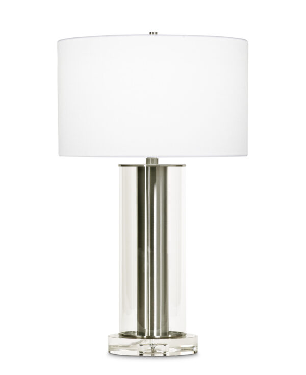 FlowDecor Lilac Table Lamp in metal with brushed nickel finish and glass and crystal and white linen drum shade (# 3701)