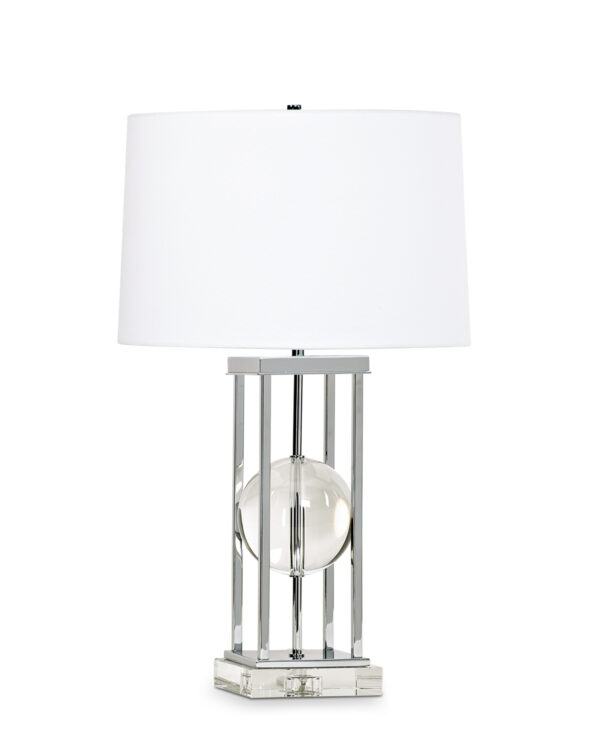 FlowDecor Locust Table Lamp in crystal and metal with chrome finish and white linen tapered drum shade (# 3700)