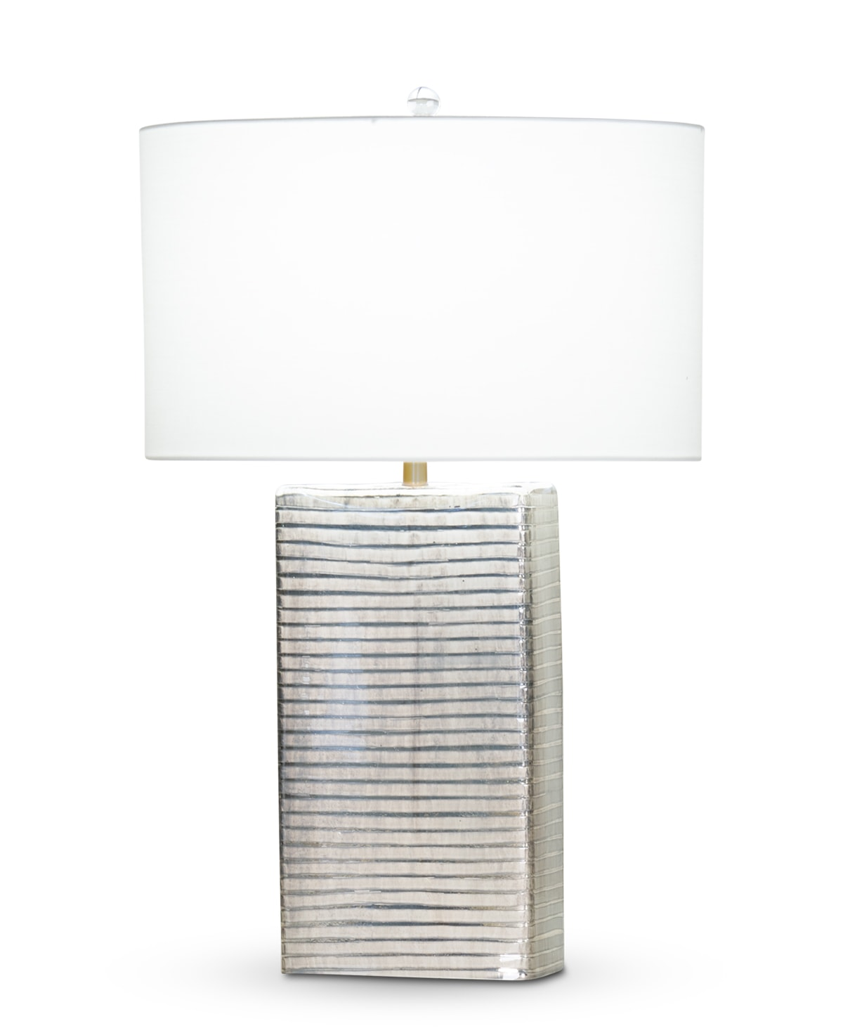 FlowDecor Logan Table Lamp in mouth-blown glass with grey carved finish and off-white cotton oval shade (# 3870)